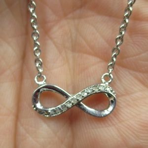 "Jewelry - Vintage 18"" Sterling Diamond Infinity Necklace"